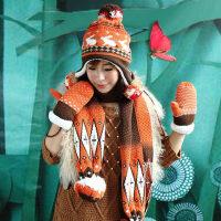 针织卡通小兔子加厚韩版潮可爱保暖套装女帽子围巾手套三件套