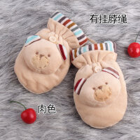 可爱冬季保暖男女款加绒厚韩版3-6岁儿童宝宝卡通手套挂脖