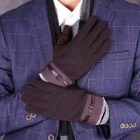 新款男士加绒手套冬季韩版户外运动骑行触屏手套开车保暖