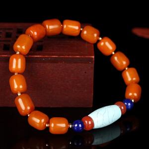蜜蜡满蜡桶珠创意DIY串款手串 配松石桶珠