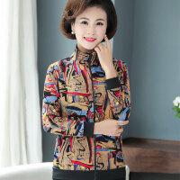 中老年外套 中老年女士韩版上衣2019秋季新款女装妈妈秋装40-50岁中年人印花夹克