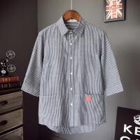夏季学生韩版修身青少年竖条纹7七分袖日系衬衫潮流短袖衬衣男装