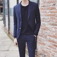 韩版新款条纹西服套装男士韩版修身正装礼服时尚休闲小西装套装男