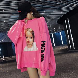 春秋季新款女装灯笼袖粉色圆领卫衣女慵懒bf风 宽松韩版