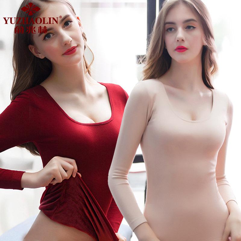 2019俞兆林保暖内衣女加厚加绒上衣冬修身单件修身美体长袖塑身打底衫
