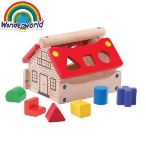 [当当自营]泰国Wonderworld 邮局小屋 几何形状配对 宝宝益智玩具 1-3岁 木质玩具