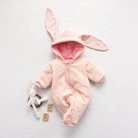 婴儿连体衣服冬季0岁3个月宝宝5冬装衣服加厚新生儿外出服