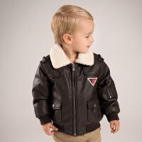 [领90元卷]加绒戴维贝秋冬季男童皮衣外套 加绒飞行夹克DB5970
