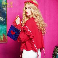 妖精的口袋玫瑰人生春秋装新款木耳边织带套头卫衣女短款