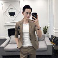 气质男2018春夏男士西服套装韩版修身发型师夜店短袖西装男外套潮
