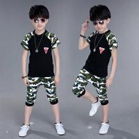 童装男童夏装2018新款小孩衣服迷彩服军装夏季棉短袖运动套装潮 军绿色 送太阳帽
