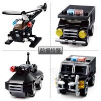 【当当自营】小鲁班创意N变系列儿童益智拼装积木玩具 特警组4款装M38-B0595