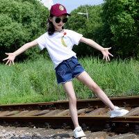 女童夏装套装2018新款中大童洋气童装儿童牛仔短裤短袖休闲两件套