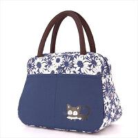 新款布包手提包便当包饭盒袋小拎包妈妈包手提小布包妈咪包买菜包 紫底白粉菊花