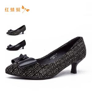 【专柜正品】红蜻蜓尖头低跟细跟蝴蝶结时尚单鞋
