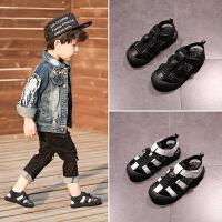 男童鞋子夏季儿童沙滩鞋宝宝真皮中大童包头凉鞋