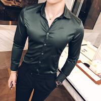新款秋装男士修身丝光长袖衬衫韩版纯色上班西装衬衣男装上衣