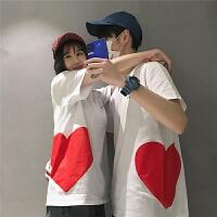 夏季韩版爱心印花体恤男士宽松薄款短袖T恤潮打底衫情侣装