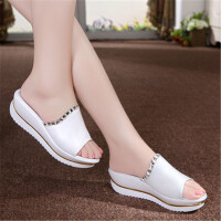2017新款凉鞋女夏中跟韩版一字拖坡跟女士凉拖鞋厚底松糕女鞋 白色