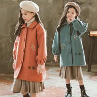 女童秋装呢子大衣韩版洋气小女孩夹棉冬装毛呢外套潮