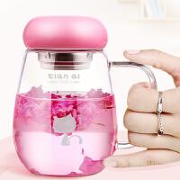 玻璃杯办公室女水杯创意花茶杯便携可爱泡茶随手杯子带盖过滤时尚潮流杯