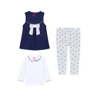 【3件6折】小猪班纳童装女宝宝套装2019春装新款女幼童三件套衣服休闲