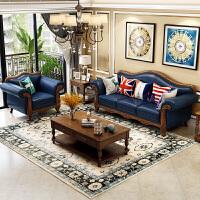美式乡村实木真皮沙发 头层牛皮北欧式现代客厅组合家具皮艺沙发 组合