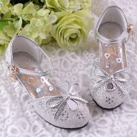 韩版水钻女童鞋公主鞋亮晶晶小孩高跟凉鞋搭配儿童礼服裙金/粉/白