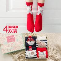 圣诞袜女袜女士中筒保暖防臭高腰女袜圣诞纯棉女袜