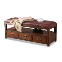 美式换鞋凳鞋柜实木 储物凳收纳凳可坐 欧式沙发凳皮凳穿鞋凳脚踏