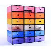 星空夏日加大加厚男款柜式鞋盒 收纳鞋盒 pp塑料加厚鞋盒 紫色+黑框(2个装)