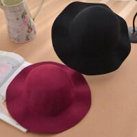 韩版羊毛呢毡帽子可爱盆帽 潮流行时尚女士帽子 优雅大气波浪边圆顶女士礼帽