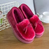 棉拖鞋女厚底包跟麂皮绒毛绒保暖棉鞋室内外拖鞋家居毛拖鞋