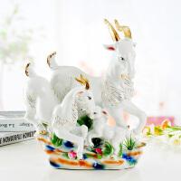 现代欧式家居饰品陶瓷工艺品客厅酒柜玄关摆件创意三羊开泰摆设品