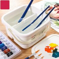 洗笔桶二合一多功能小号水桶儿童美术生水粉绘画水彩画画专用工具便携大号涮笔筒国画色彩颜料画笔水桶
