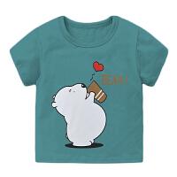 儿童卡通T恤2021夏季新款男童趣味印刷T恤
