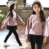 女童冬装套装加厚绣花2017新款韩版中大童儿童加绒卫衣裙裤两件套