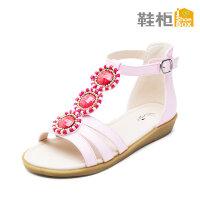 SHOEBOX/鞋柜 夏季新款甜美花朵魔术贴波西米亚露趾女童鞋凉鞋