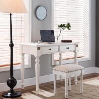 美式实木书桌写字台电脑桌家用仿古办公学习小桌子小户型书房家具 +凳子