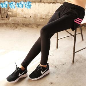 瑜伽服 女士运动裤瑜珈长裤2019年新款韩版假两件健身裤透气排汗跑步舞蹈训练紧身九分裤子
