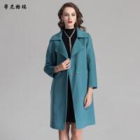 秋冬女士时尚翻领九分袖中长款简约大方羊毛呢大衣女装外套M-616363