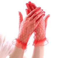 薄款短款袖套电动车开车红色白色透光蕾丝手套防晒手套女