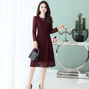 蕾丝连衣裙女秋季新款中长款气质修身韩版时尚优雅秋天长袖连衣裙