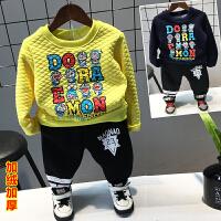 **儿童男童女童加绒加厚套头卫衣宝宝韩版保暖上衣2018春冬