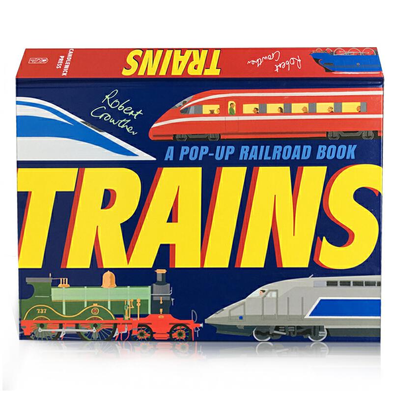 英文原版 Trains: A Pop-Up Railroad Book 列车立体书介绍 Robert Crowther 3-6岁儿童启蒙认知绘本读物
