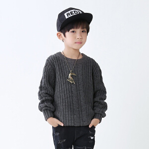 乌龟先森 儿童针织衫 男童长袖圆领单色套头衫冬季新款韩版儿童时尚休闲舒适百搭中大童毛衣