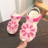 夏季女童包头凉鞋公主鞋可爱太阳花软底宝宝鞋女孩沙滩鞋