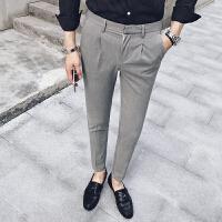 新款秋季潮流时尚个性刺绣男士休闲裤英伦修身型免烫小脚长裤