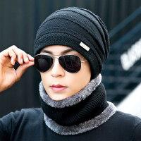 帽子男保暖针织套头帽加绒加厚毛线帽时尚青年户外带围脖棉帽