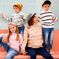 【2件3折到手价:52】小猪班纳童装男童毛衣冬季新款女童条纹针织衫儿童休闲樽领毛线衫